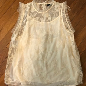 Lace Sleeveless Top w/ Cream Camisole NWOT